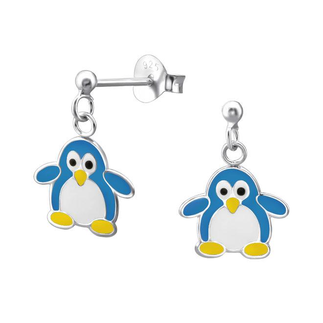 Zilveren kinderoorbellen: Schattige pinguïn