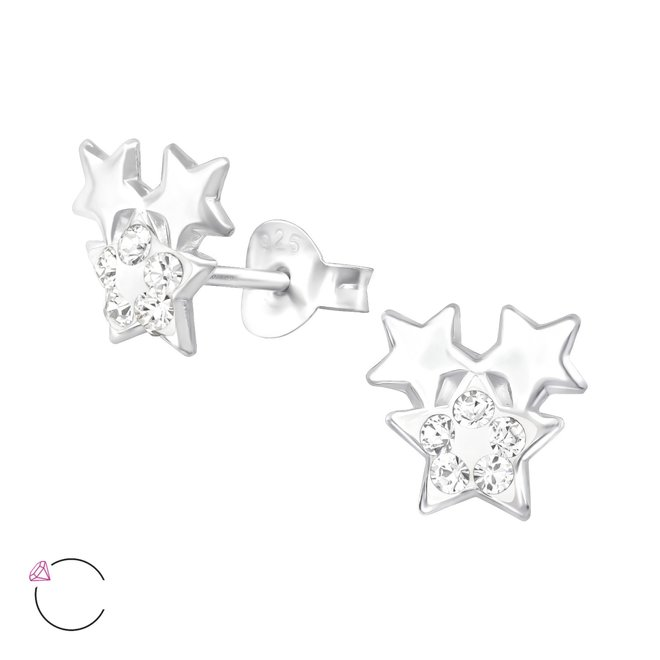 Zilveren kinderoorbellen: Drie sterretjes met kristallen steentjes