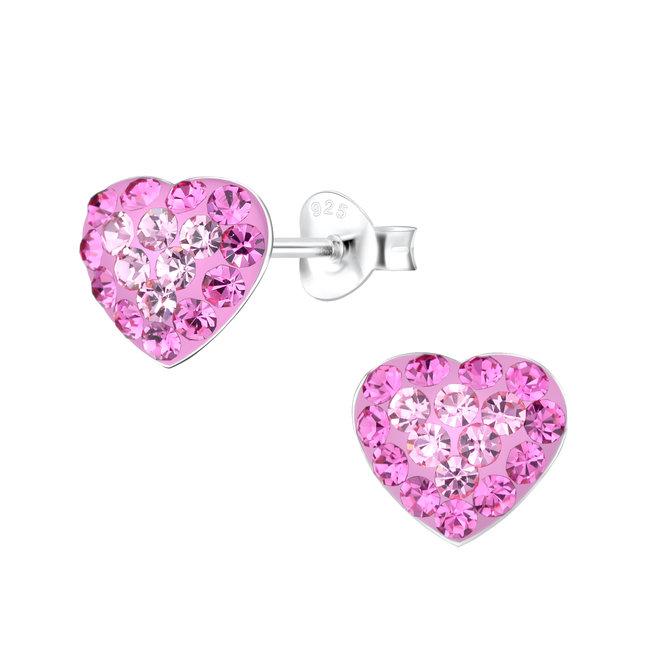 Zilveren kinderoorbellen: Roze hartje met kristallen steentjes