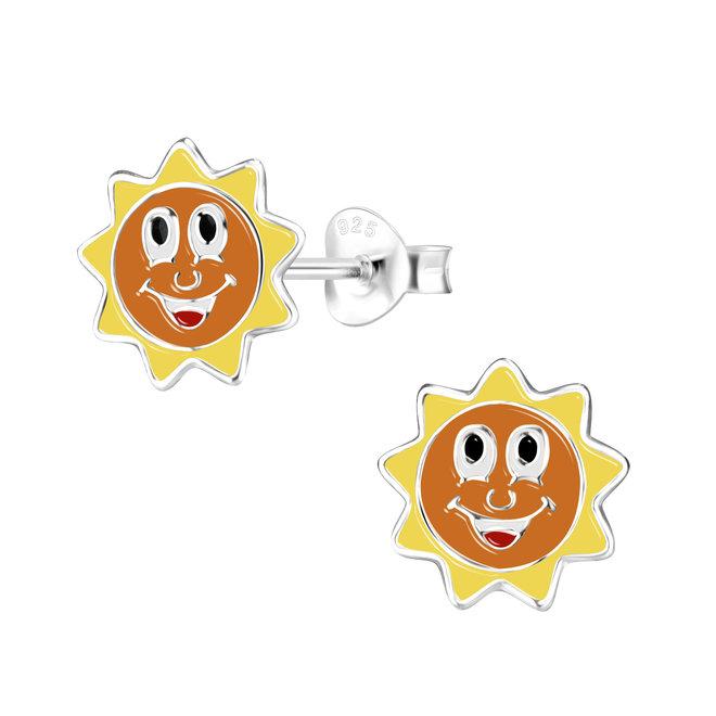 Zilveren kinderoorbellen: Zon met lachend gezichtje