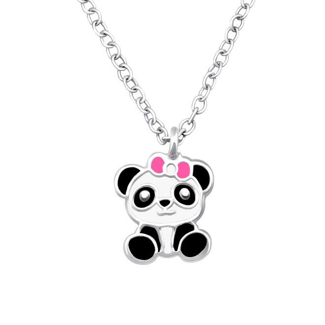 Zilveren hanger: Schattige baby panda