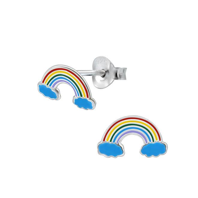 Zilveren kinderoorbellen: Regenboog