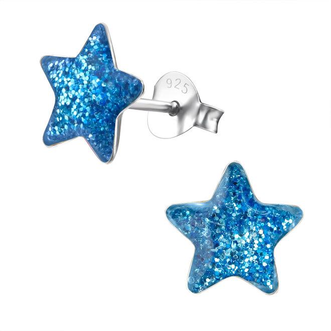 Zilveren kinderoorbellen: Ster met glitter