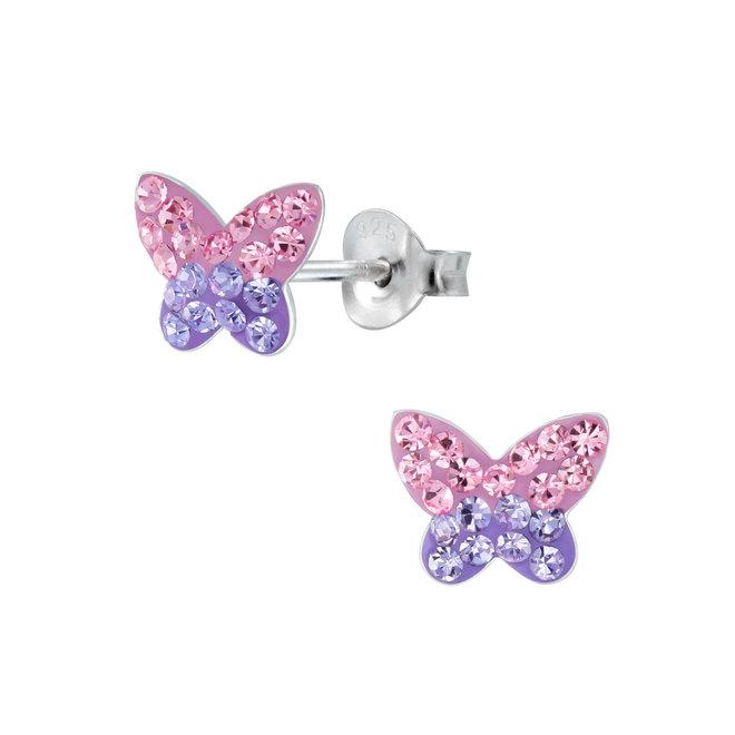 Zilveren kinderoorbellen: Vlinder met kristallen steentjes