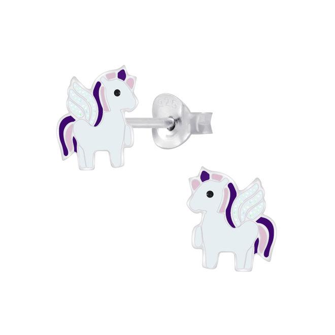 Zilveren kinderoorbellen: schattige éénhoorn