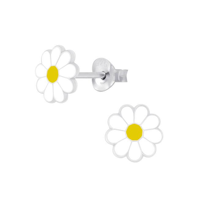 Zilveren kinderoorbellen: Lief bloempje