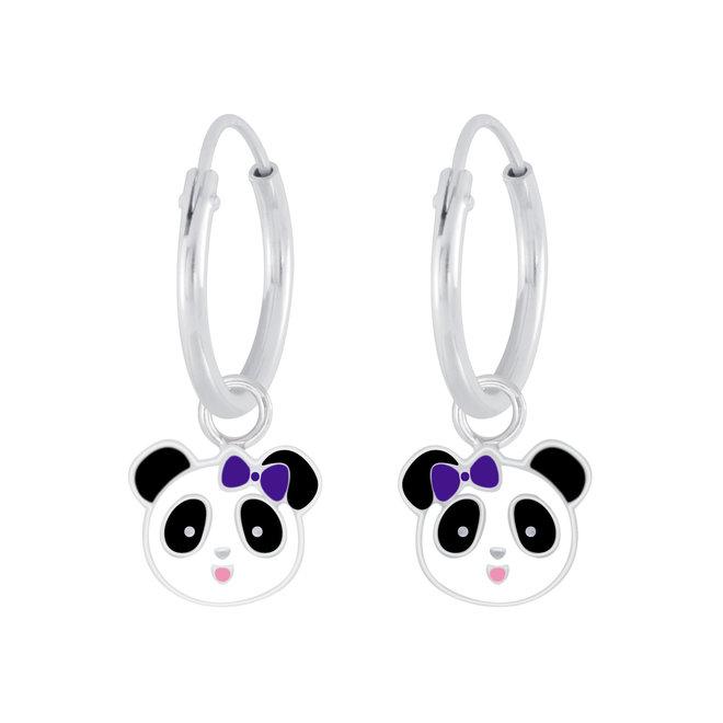 Zilveren kinderoorbellen: Panda met strikje