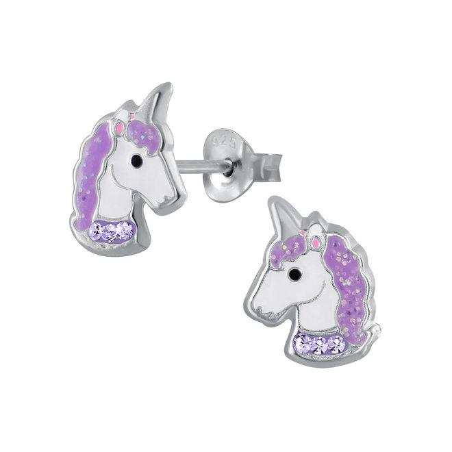 Zilveren kinderoorbellen: Eenhoorn met kristallen steentjes en glitter