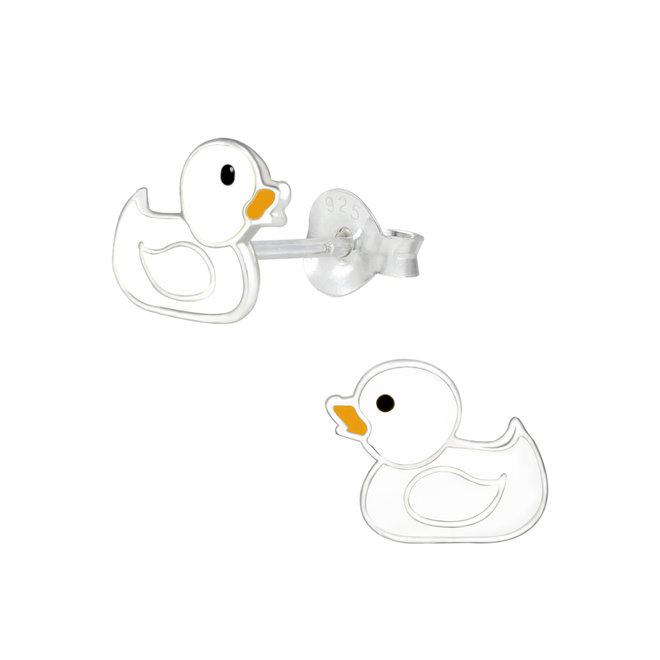 Zilveren kinderoorbellen: Schattig eendje