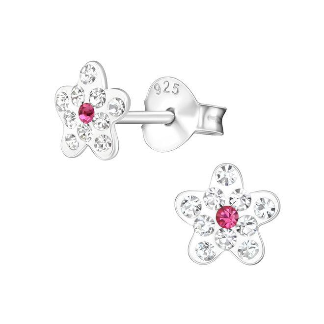 Zilveren kinderoorbellen: Bloem met kristallen steentjes