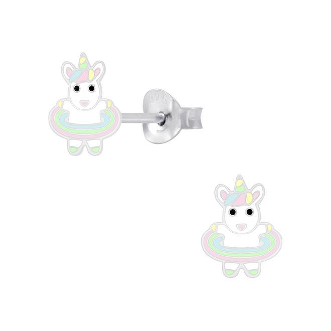 Zilveren kinderoorbellen: Eenhoorn met zachte kleurtjes