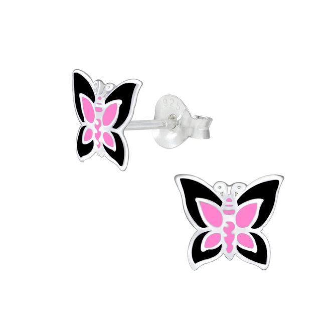 Zilveren kinderoorbellen: Vlinder