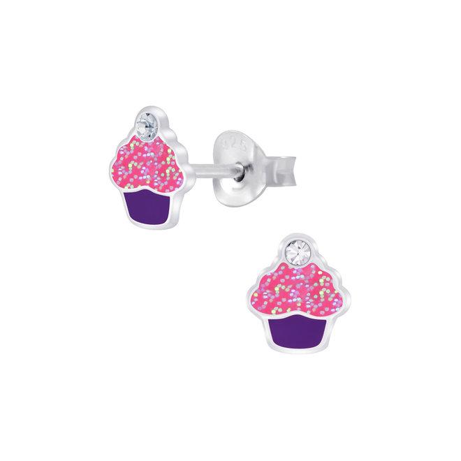 Zilveren kinderoorbellen: Cupcake met steentje en glitter