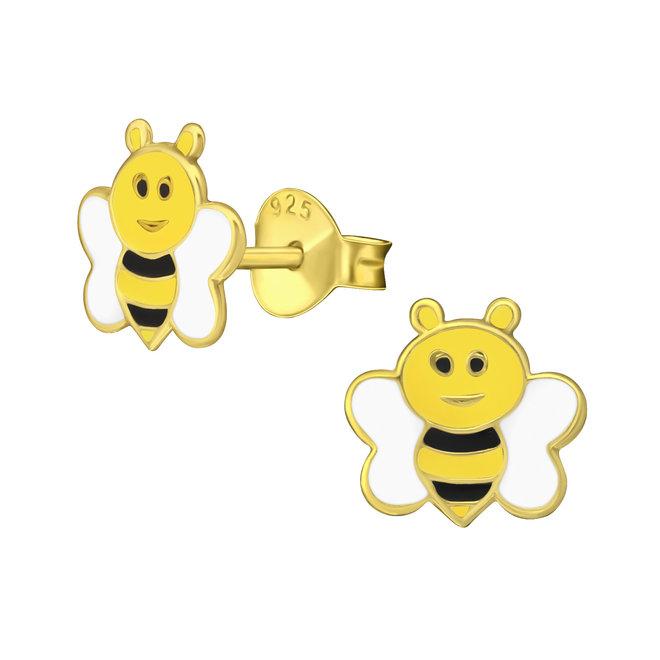 Zilveren kinderoorbellen: Lief geel bijtje