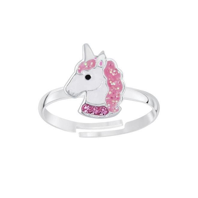 Zilveren ring: Eenhoorn met kristallen steentjes en glitter