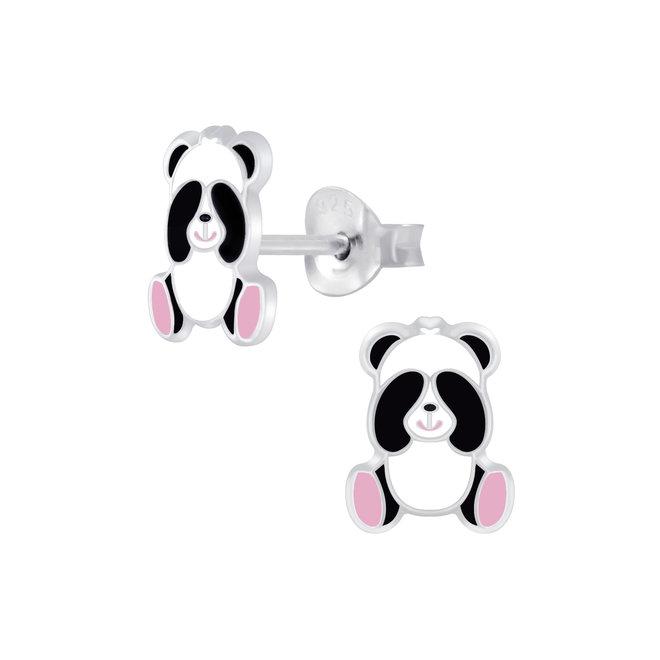 Zilveren kinderoorbellen: Schattige panda