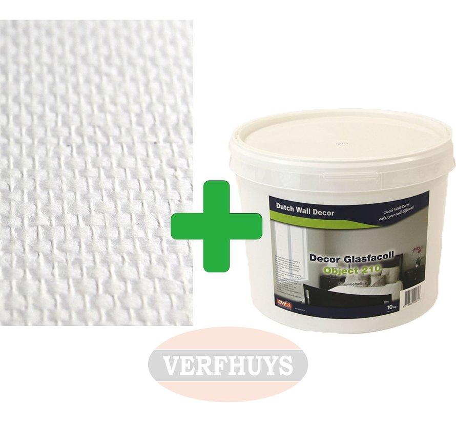 Glasweefselbehang - Ruit 850 - 150 gram + Lijm voor 50m2