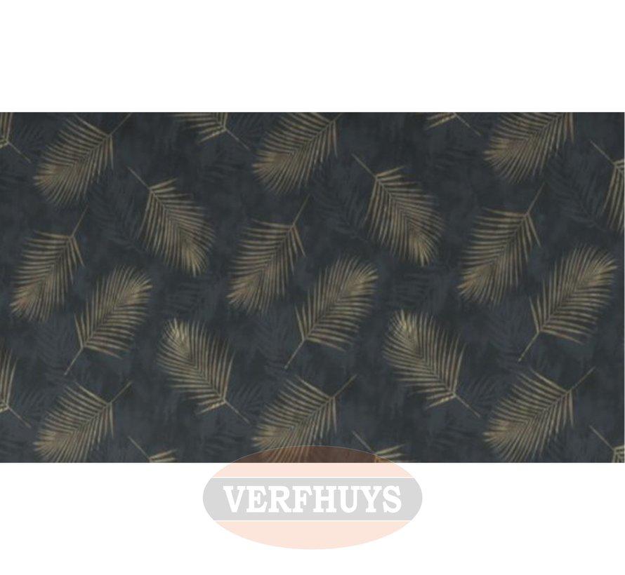 Fashion for Walls behang - Zwart met gouden palmblaadjes