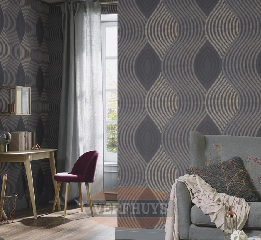 Fashion for Walls behang - Zwart patroon