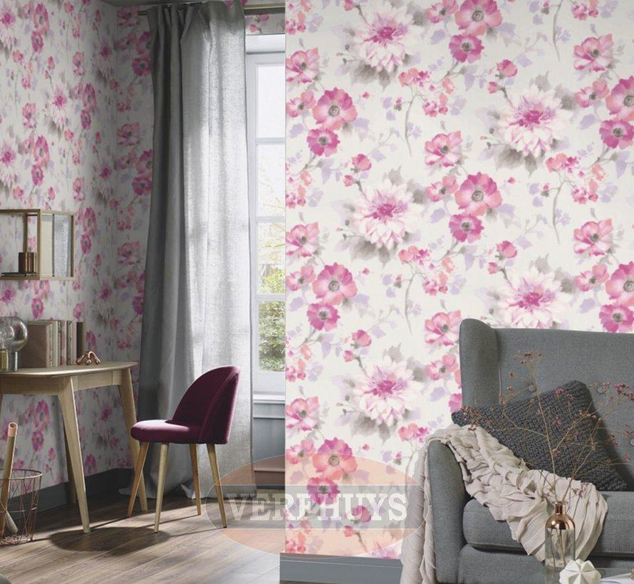 Fashion for Walls behang - Roze bloemen