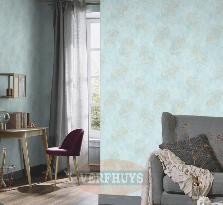Fashion for Walls behang - Mintgroen met palmblaadjes