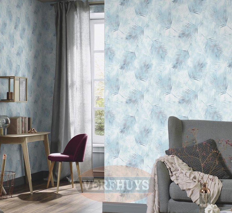 Fashion for Walls behang - Blauwe palmblaadjes