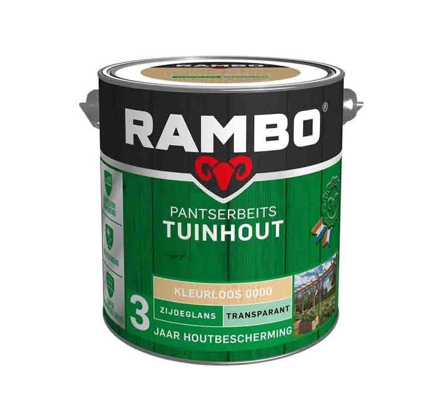 Rambo Tuinhout pantserbeits zijdeglans transparant kleurloos 0000 - 2,5 liter