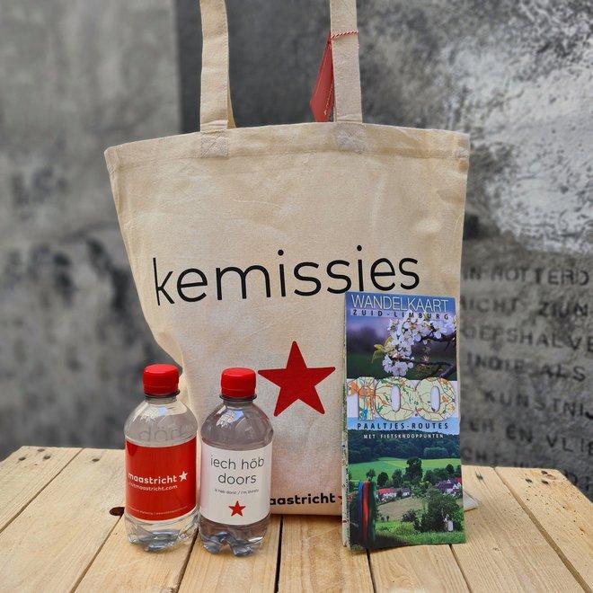 Wandelkaart Zuid-Limburg + flesjes water + kemissietas