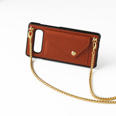 Bruine telefoonclutch met goudkleurige ketting