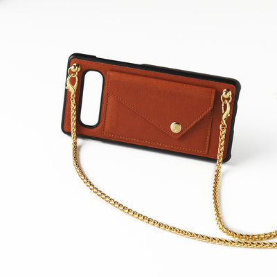 Brown crossbody phoneclutch with chain