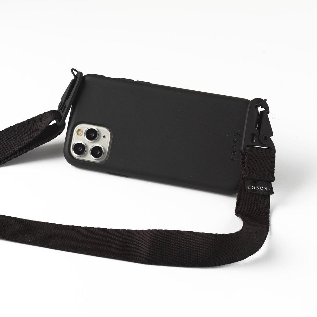 Duurzame zwarte telefoonholster met band