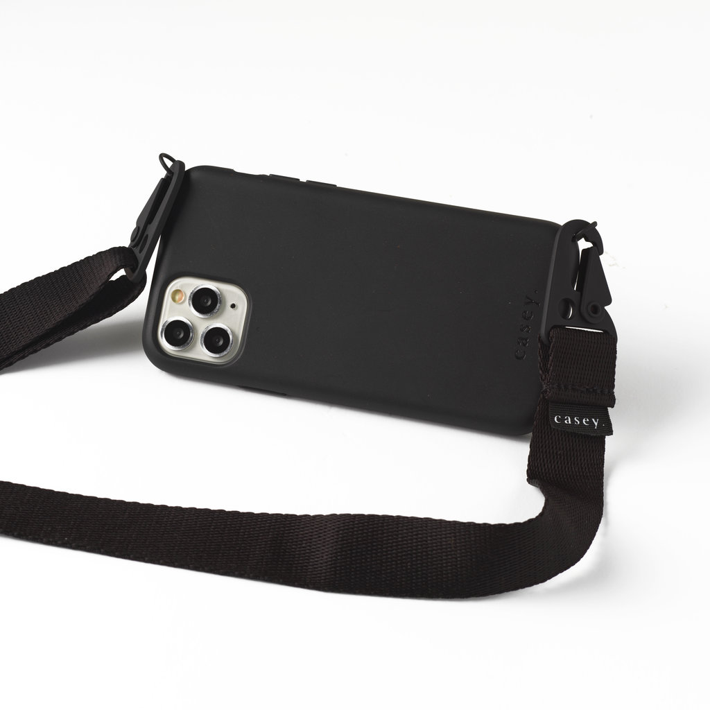 Sustainable black holster with lanyard
