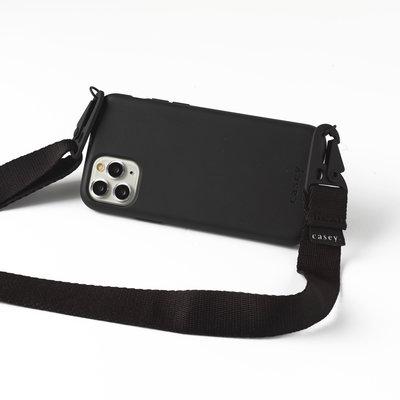 Duurzame zwart telefoonholster met band