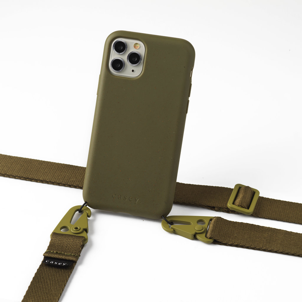Sustainable green case  with lanyard (green)