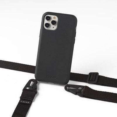 Duurzame telefoontas zwart met band (zwart)