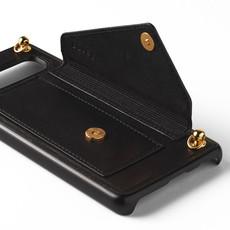 Zwarte telefoonclutch met lange goudkleurige ketting
