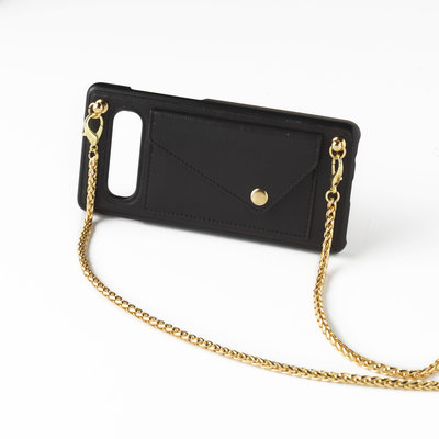 Black phoneclutch with long golden chain