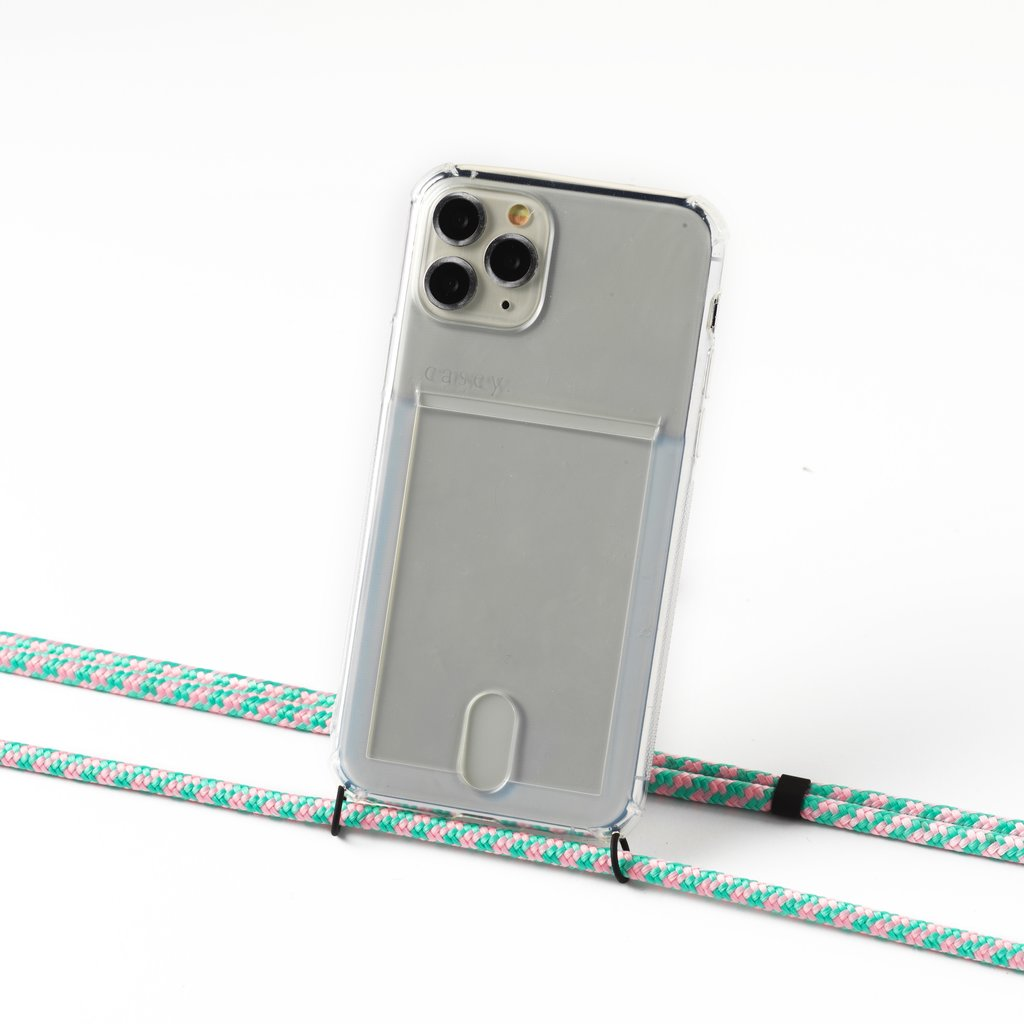Transparent case with cardholder and camouflage mint cord