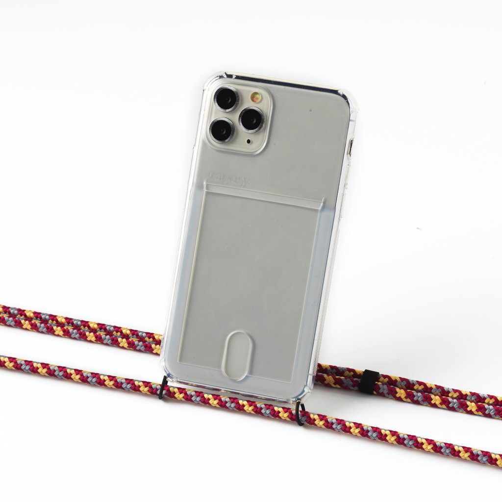 Transparent case with cardholder and camouflage aubergine cord