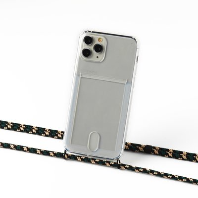 Transparent case with cardholder and camouflage crocodile cord