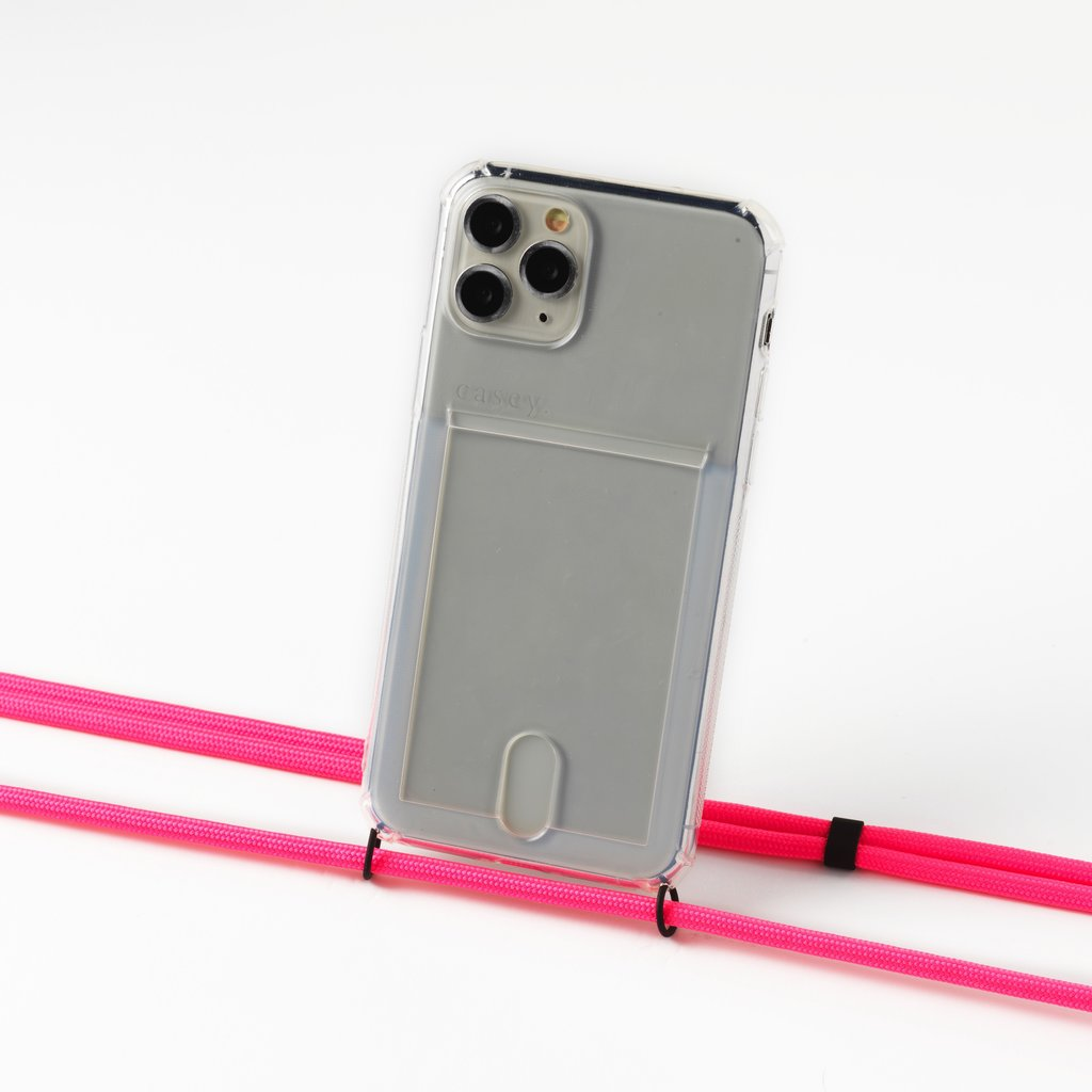 Transparent case with cardholder and  neon pink cord