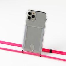Transparant hoesje met ruimte voor pasjes en met neon pink koord