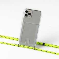 Transparent case with cardholder and  neon/yellow cord