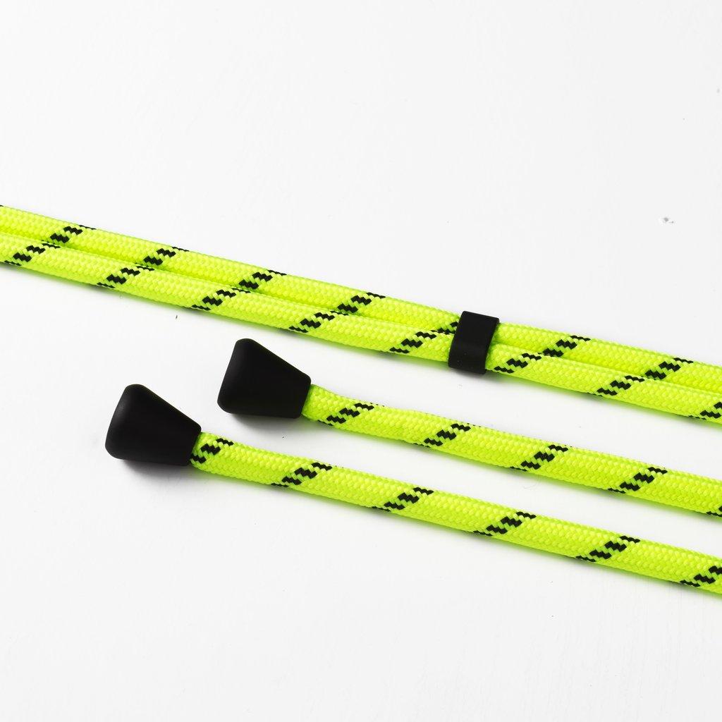 Transparant hoesje met ruimte voor pasjes en met neon/geel koord