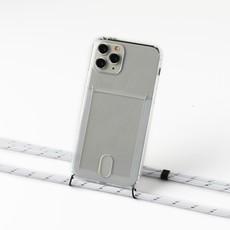 Transparant hoesje met ruimte voor pasjes en met wit/zilver koord