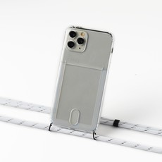 Transparent case with cardholder and white/silver cord
