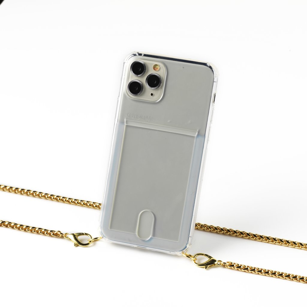 Transparent case with card holder and gold colored chain