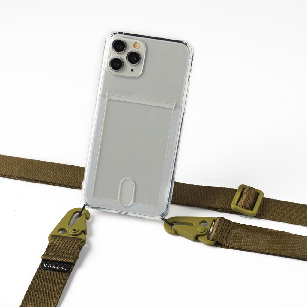 Transparent case with cardholder and green band