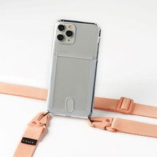Transparent case with cardholder and pink band