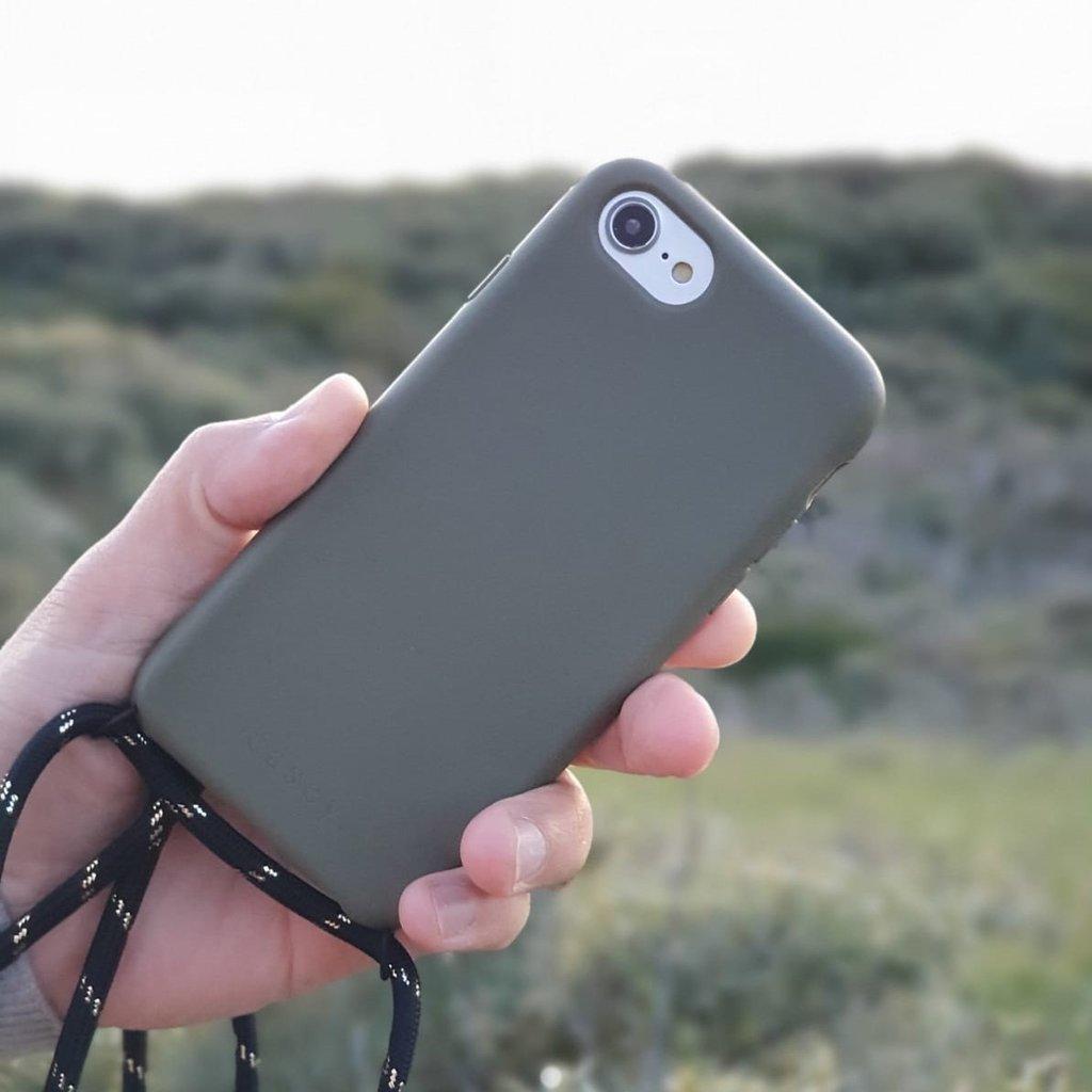 Duurzame telefoontas groen met koord (zwart met goud)